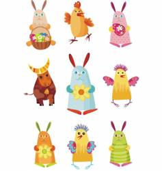 Easter characters vector image