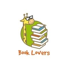 funny giraffe logotype Book store logo vector image
