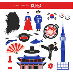 Korean customs and landmarks vector