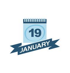 19 january calendar with ribbon vector