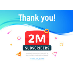 2000000 followers post 2m celebration two vector image