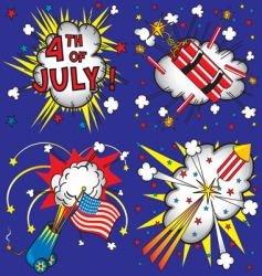 4th of july explosions vector image