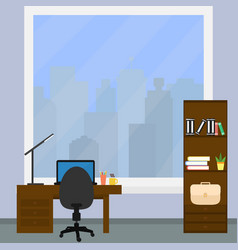 a desktop with laptop and desk lamp vector image