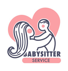 Babysitter service isolated icon mother and baby vector