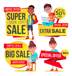 big sale banner set school children pupil vector image