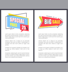 Big sale with sppecial price promotional posters vector