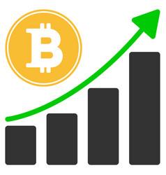 bitcoin growing chart flat icon vector image