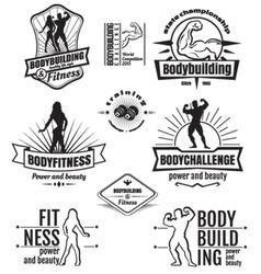 Bodybuilding emblems vector image
