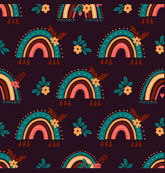 Boho rainbow pattern abstract rainbow background vector