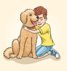 Boy and golden retriver vector