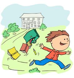 Boy joyfully escapes from school on vacation vector