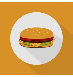Burger with salad tomatoes cheese and cutlet vector image