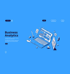 business analytics isometric landing page banner vector image