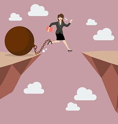 Business woman jumps the abyss with the weight vector