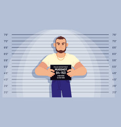 cartoon arrested gangster mugshot arrested vector image
