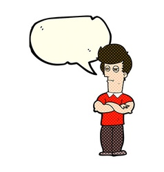 Cartoon man with folded arms with speech bubble vector