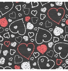 Chalkboard art hearts seamless pattern background vector image
