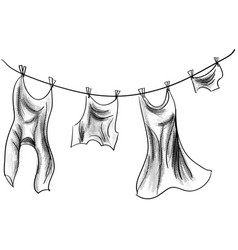 Clothes hanging on a rope vector