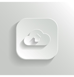 Cloud upload icon - white app button vector image