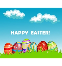 Colourful Happy Easter greeting card design vector