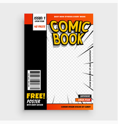 Comic magazine book cover layout design vector