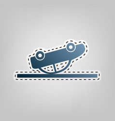 crashed car sign blue icon with outline vector image