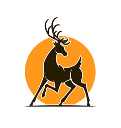 deer silhouette at sunset cut out icon vector image