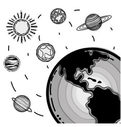differents planets in the galaxy space vector image