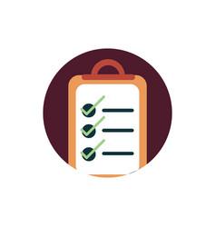 Digital marketing clipboard checklist mark vector