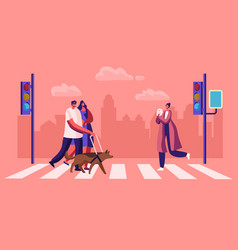 disabled and healthy pedestrians with pets vector image