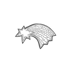 doodle icon of shooting star comet with tail vector image