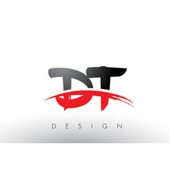 Dt d t brush logo letters with red and black vector