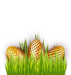 easter golden eggs in green grass decoration vector image