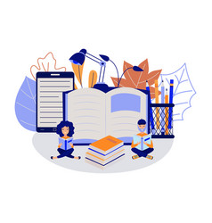 Education process with young students sitting and vector