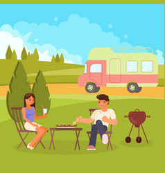 family bbq flat style design vector image