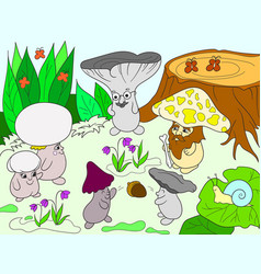 family of mushrooms in the forest color book for vector image