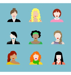 Female Flat Icons vector