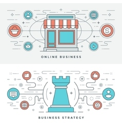Flat line Online Business and Strategy vector image