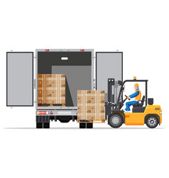 forklift loading pallet boxes into lorry truck vector image