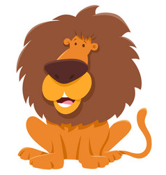 funny lion cartoon animal character vector image