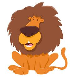 Funny lion cartoon animal character vector