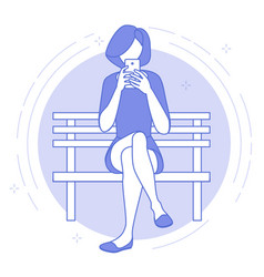 girl sitting on bench in park chatting vector image