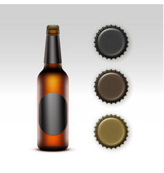 Glass transparent bottle of beer with label caps vector