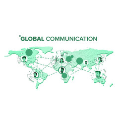 global communication chat on world map at vector image