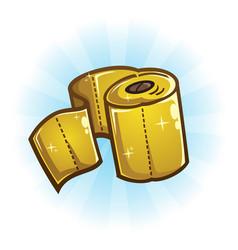 Golden toilet paper prize vector