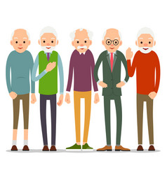 Group of old people older man character in vector