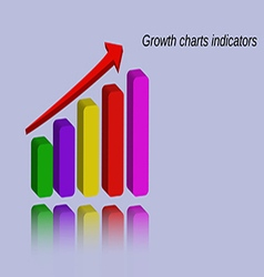 Growth charts indicators with reflection vector image