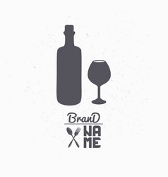hand drawn silhouette of wine bottle and glass vector image