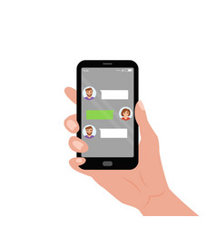 hand holding mobile with live chat messenger app vector image