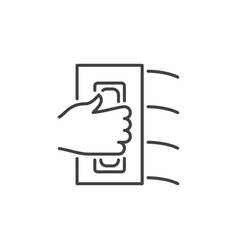 Hand with flat trowel concept icon in thin vector